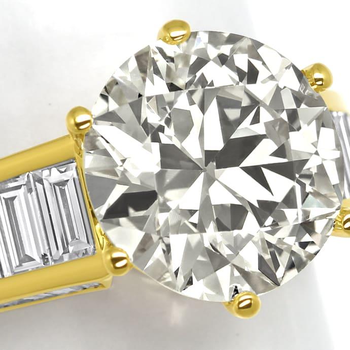 Foto 3, Ring 5,3ct Brillant Solitär und 2,38ct Diamantbaguetten, R2421