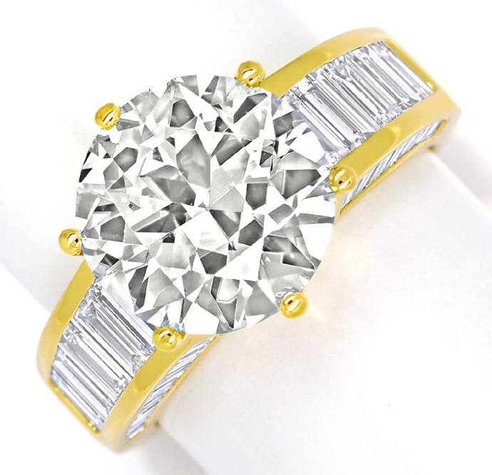 Foto 4, Ring 5,3ct Brillant Solitär und 2,38ct Diamantbaguetten, R2421
