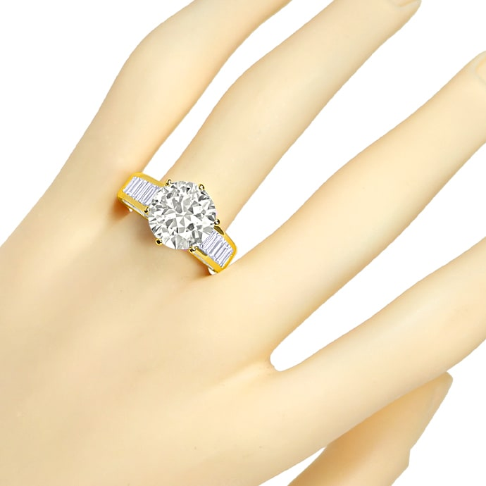 Foto 6, Ring 5,3ct Brillant Solitär und 2,38ct Diamantbaguetten, R2421