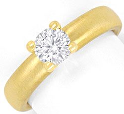 Foto 1, Brillantring 0,67 Diamant massiv 18K Gold DPL Gutachten, R2440