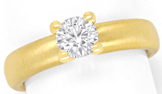 Foto 2, Brillantring 0,67 Diamant massiv 18K Gold DPL Gutachten, R2440