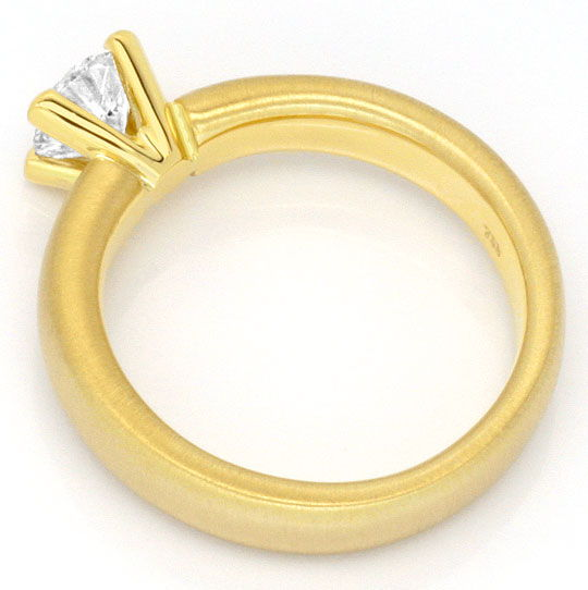 Foto 3, Brillantring 0,67 Diamant massiv 18K Gold DPL Gutachten, R2440