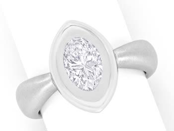 Foto 1, 1,28ct Ovaler Diamant Designerring Weissgold 18K massiv, R2442