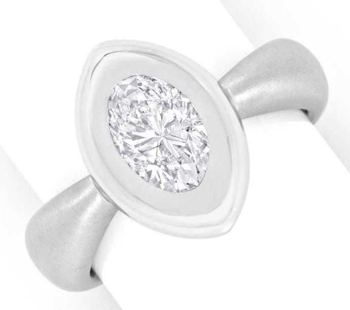 Foto 2, 1,28ct Ovaler Diamant Designerring Weissgold 18K massiv, R2442