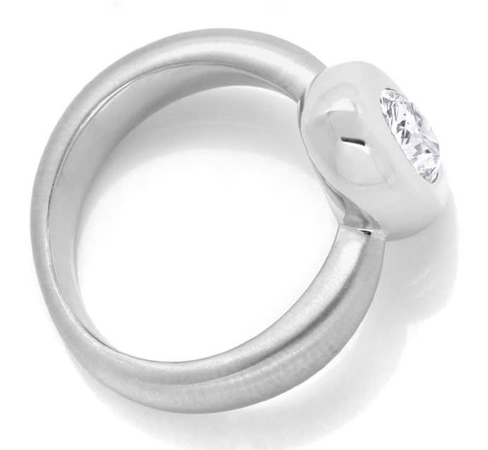 Foto 3, 1,28ct Ovaler Diamant Designerring Weissgold 18K massiv, R2442