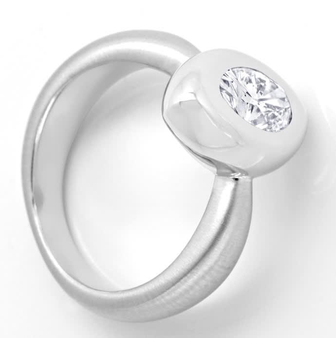 Foto 4, 1,28ct Ovaler Diamant Designerring Weissgold 18K massiv, R2442