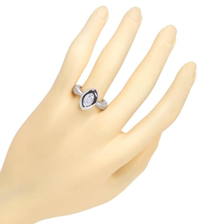Foto 6, 1,28ct Ovaler Diamant Designerring Weissgold 18K massiv, R2442