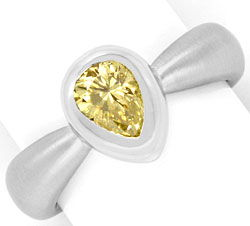 Foto 1, Diamantring 0,92 Fancy Brownish Yellow HRD 18K Weißgold, R2443
