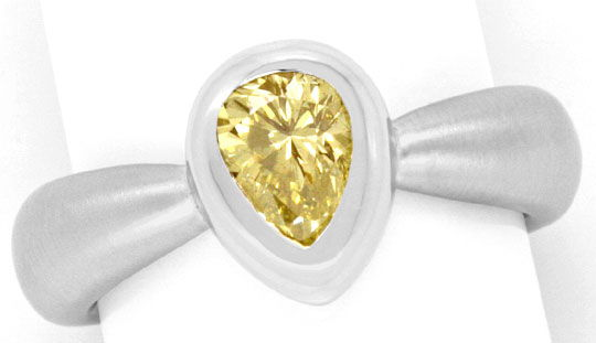 Foto 2, Diamantring 0,92 Fancy Brownish Yellow HRD 18K Weißgold, R2443