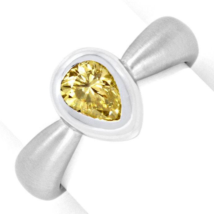 Diamantring 0,92 Fancy Brownish Yellow HRD 18K Weißgold, Designer Ring