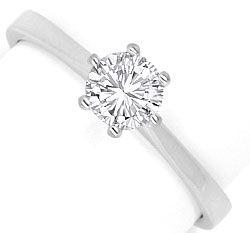 Foto 1, Brilliant Diamant Ring Halbkaraeter River 18K Weissgold, R2450