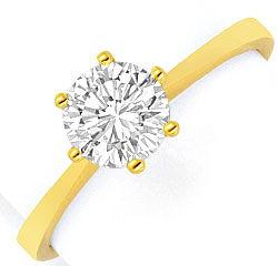 Foto 1, Brilliant Diamant Krappen Ring 18K Gelbgold Einkaraeter, R2453