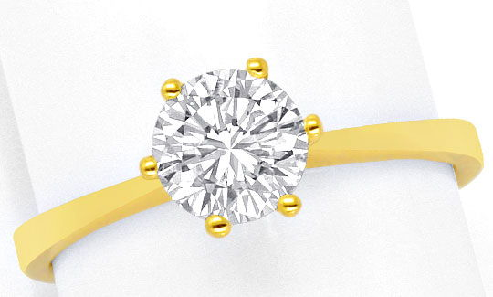Foto 2, Brilliant Diamant Krappen Ring 18K Gelbgold Einkaraeter, R2453