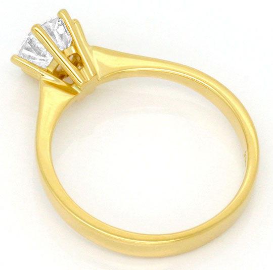 Foto 3, Brilliant Diamant Krappen Ring 18K Gelbgold Einkaraeter, R2453