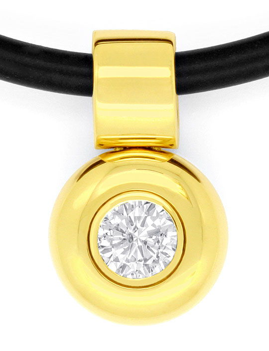 Foto 2, Brilliant Diamant Kautschuk Collier 0,58ct 18K Gelbgold, R2454