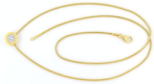 Foto 1, Brilliant Collier 0,48ct Lupenrein 18K Gelbgold Kollier, R2455
