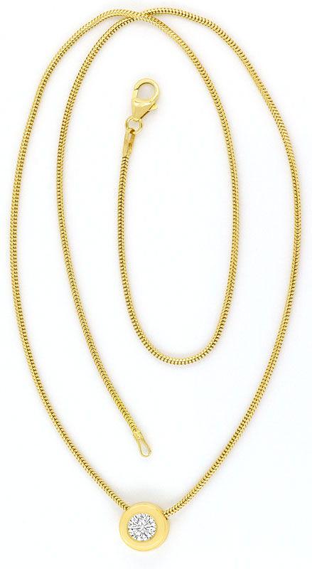 Foto 4, Brilliant Collier 0,48ct Lupenrein 18K Gelbgold Kollier, R2455