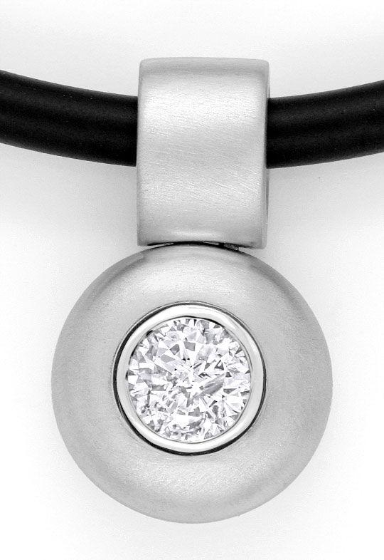 Foto 2, Brillant Diamant Kautschuk Collier 0,58ct 18K Weissgold, R2456
