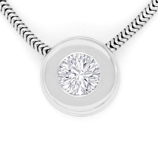 Foto 2, Brilliant Diamant Collier 0,40ct Solitaer 18K Weissgold, R2458