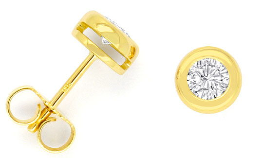 Foto 1, Brillant-Diamant-Zargen-Ohrringe 0,52 ct Ohrstecker 18K, R2460