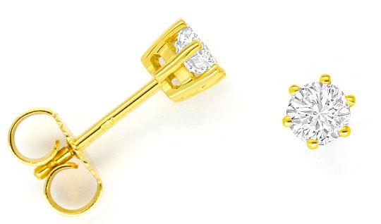 Foto 1, Paar Diamant Ohrstecker Brillanten 0,56 ct 18K Gelbgold, R2469