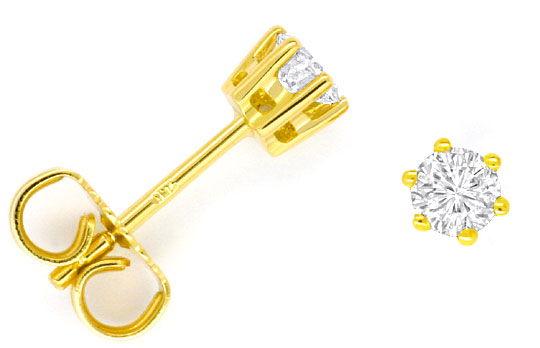 Foto 1, Paar Diamant Ohrstecker Brillanten 0,38 ct 18K Gelbgold, R2470