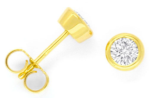 Foto 1, Brillant-Ohrringe 0,58ct Top Wesselton VS1 18K Gelbgold, R2515
