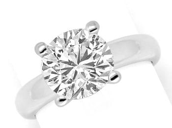 Foto 1, Riesen Brillant Diamantring 3,09ct massiv 18K Weissgold, R2553