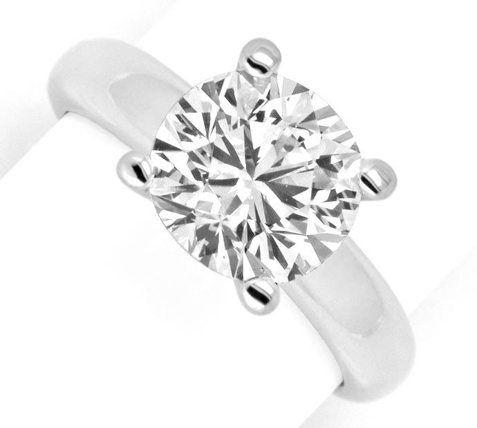 Foto 2, Riesen Brillant Diamantring 3,09ct massiv 18K Weissgold, R2553