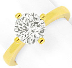 Foto 1, Massiver Gold Ring 1,84ct Diamant Solitaer 18K Gelbgold, R2554