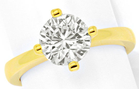 Foto 2, Massiver Gold Ring 1,84ct Diamant Solitaer 18K Gelbgold, R2554
