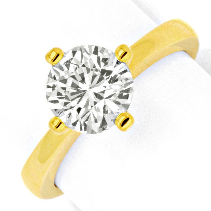 Massiver Gold Ring 1,84ct Diamant Solitaer 18K Gelbgold, Designer Ring