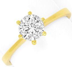 Foto 1, Einkaraeter Solitär Brilliant Diamant Ring 18K Gelbgold, R2574
