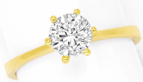Foto 2, Einkaraeter Solitär Brilliant Diamant Ring 18K Gelbgold, R2574