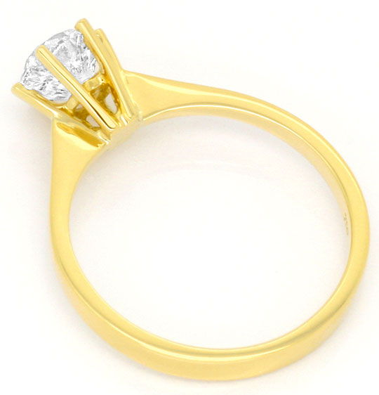Foto 3, Einkaraeter Solitär Brilliant Diamant Ring 18K Gelbgold, R2574