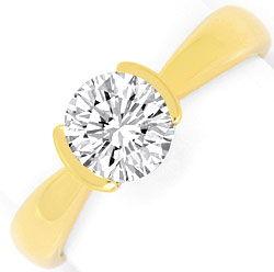 Foto 1, Moderner Brillant Diamant Ring Einkaraeter 14K Gelbgold, R2575