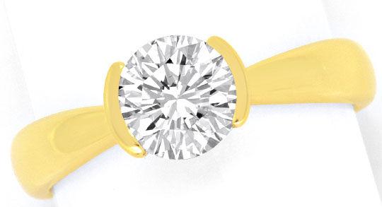 Foto 2, Moderner Brillant Diamant Ring Einkaraeter 14K Gelbgold, R2575