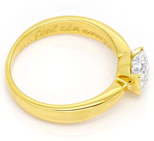 Foto 3, Moderner Brillant Diamant Ring Einkaraeter 14K Gelbgold, R2575