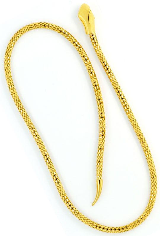 Foto 4, Set Goldkette Goldarmband im Schlangen Design Gelb Gold, R2616
