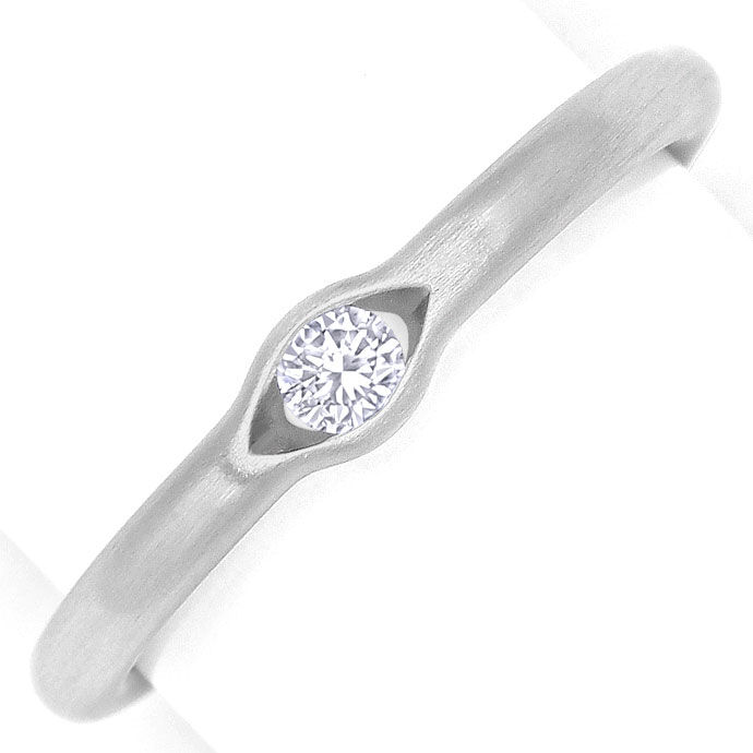 Foto 2, Niessing Platin Diamantring 0,10ct Brillant eingespannt, R2632