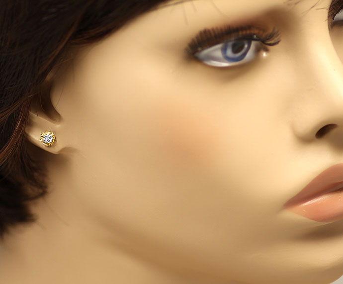 Foto 2, Diamantohrstecker mit 0,27ct Lupenreinen Brillanten 14K, R2641