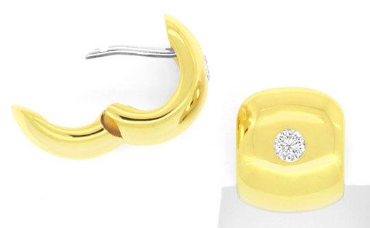 Foto 1, Brillanten Diamanten Creolen Kreolen 0,23Carat 18K Gold, R2809
