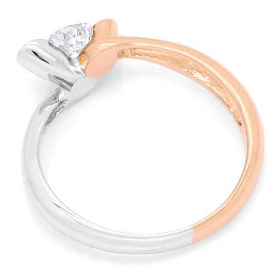 Foto 3, Halbkaräter Brillant Solitär Ring Rotgold Weissgold 14K, R2811