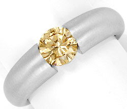 Foto 1, Brillantring 0,75ct Fancy Yellowish Brown HRD Expertise, R2813