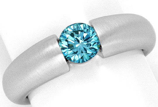 Foto 2, Spannring Brillant 0,70ct Blau Fancy Intense Vivid Blue, R2927