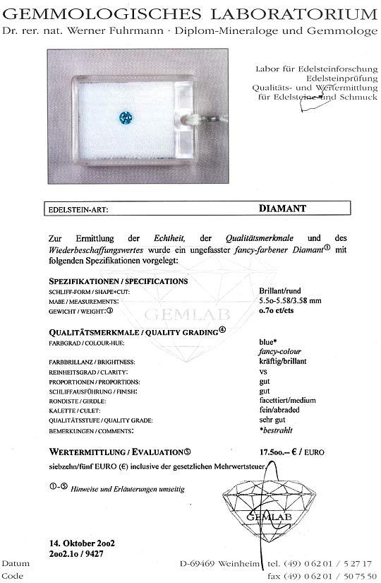 Foto 9, Spannring Brillant 0,70ct Blau Fancy Intense Vivid Blue, R2927