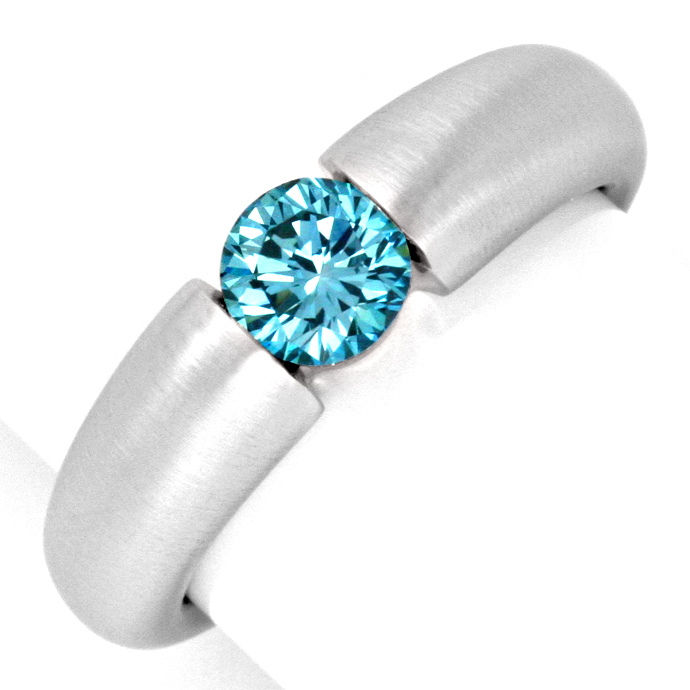 Spannring Brillant 0,70ct Blau Fancy Intense Vivid Blue, Designer Ring