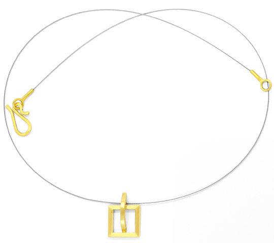 Foto 4, Designer Kollier Designer Ring 18K Gelb Gold Edel Stahl, R2971