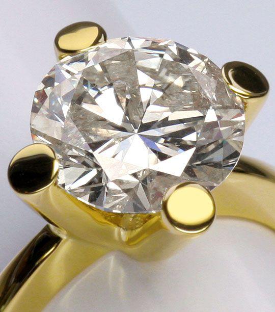 Foto 5, 4,526 Karäter Riesen Brillant Solitär Ring 18K Gelbgold, R3026