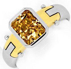Foto 1, 1,59 Carat Goldbraun Diamantring 18K Gelbgold Weissgold, R3027